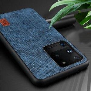Image 4 - Samsung S20 Ultra durumda not 20 kapak S20 artı konut Note20 silikon darbeye dayanıklı kot PU deri geri TPU MOFi orijinal