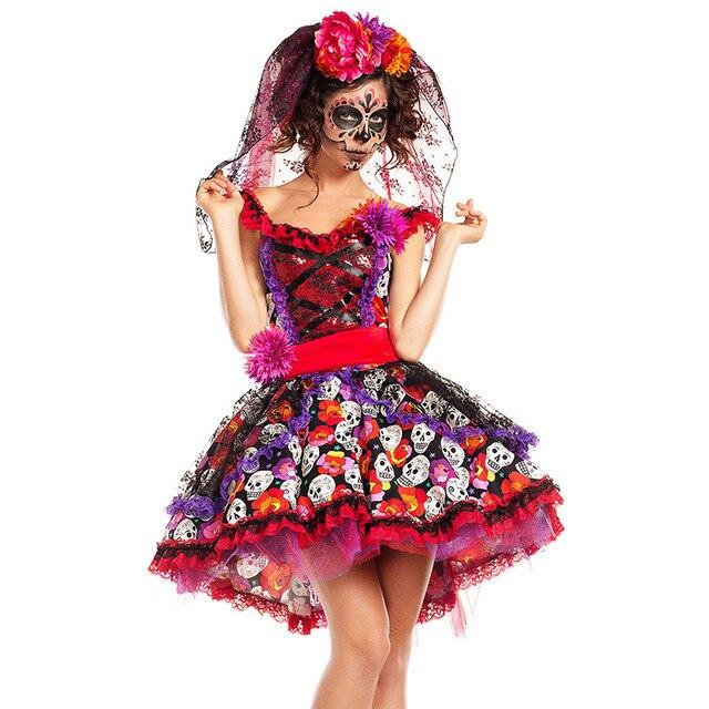 Disfraz de día de los muertos en méxico, traje de calavera, Halloween, carnaval, fiesta, hada de las flores, fantasma, novia