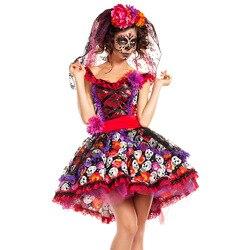 Traje de cosplay de caveira zumbi, fantasia mexicana do dia das bruxas, dia das bruxas, carnaval, festa, flor, fantasma, vestido de noiva