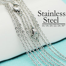 50 Pcs x Stainless Steel Necklace Chain, NeoVogue 16/18/20/22/24/30 Inch Oval Link Cable Necklace Bulk Wholesale for Women & Men