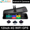 4 Channel 360° Panoramic Android 12 Inch Smart Rearview Mirror with Reverse Camera Dashboard Car DVR Dashcam ADAS 4G Wifi GPS