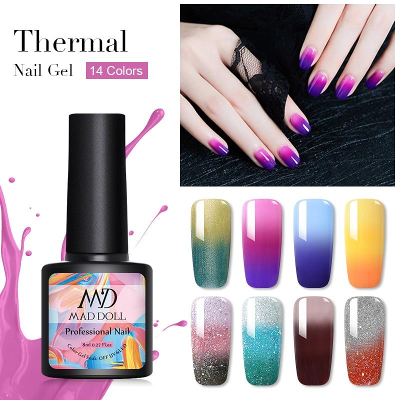 MAD DOLL 8ml Thermal Gel Nail Polish Temperature Color Changing Sequins Soak Off UV Nail Gel Polish Varnish Nail Art Design