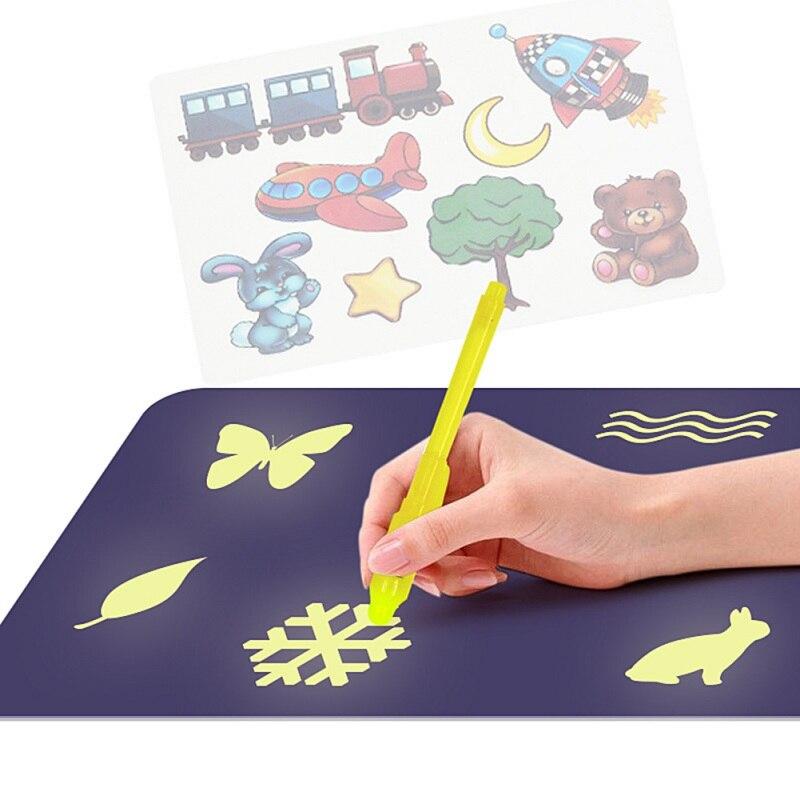 LED Magic Draw DIY Educaitonal Drawing Tablet Board Luminous Graffiti Doodle Board Light In Dark Children Kids Magic Paint Toy(China)