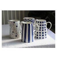 Handmade Ceramic Teapot Pithers Coffee Pot Milk Tea Mugs Flower Vase Blue Flavor Decor