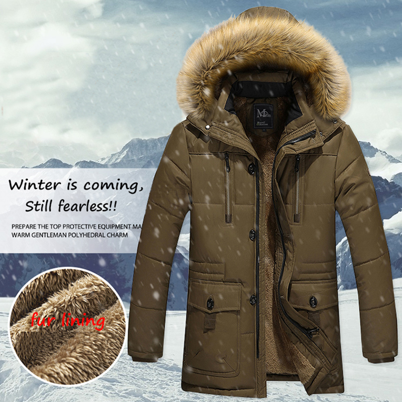 New Fashion Winter Jacket Men Warm Coat Casual Parka Medium-Long Thickening Coat Wool Liner Fur Hat Detachable Parkas Men M-5XL