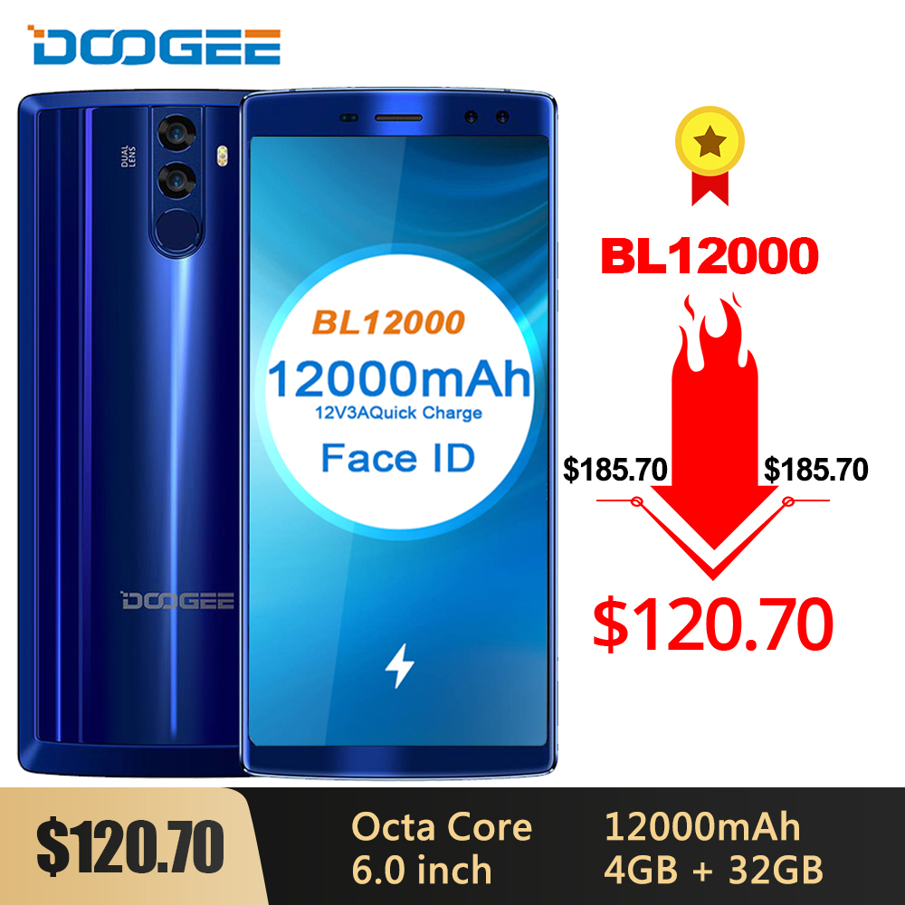 DOOGEE BL12000 Smartphone 12000mAh Fast Charge 6.0'' 18:9 FHD Display MTK6750T Octa Core 4GB 32GB 16MP Camera Android 7.1 Phones