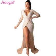 Adogirl Women Sexy Sequins Maxi Evening Party Dress Wrap V Neck Ruched Long Sleeve High Slit Robe Club Female Vestido
