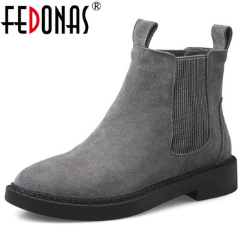 FEDONAS Cow Suede Women Slip On Ankle Boots Winter High Heels Party Office Shoes Woman Warm Short Boots Big Size Chelsea Boots