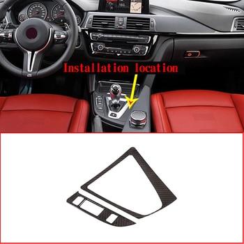 LHD Real Carbon Fiber For BMW M3 M4 F80 F82 F83 2014-2018 Car Gear Shift Frame Panel Trim Left Hand Drive Accesssories