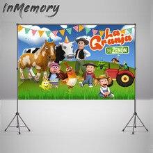 Foto de fundo personalizado grama verde fazenda foto cabine vinil la granja de zenon photo studio crianças 1st aniversário pano de fundo