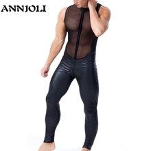 ANNJOLI для мужчин Wetlook плотная искусственная кожа Сетчатое белье эротическое открытое промежность перспектива молния латексный комбинезон без рукавов секс-боди