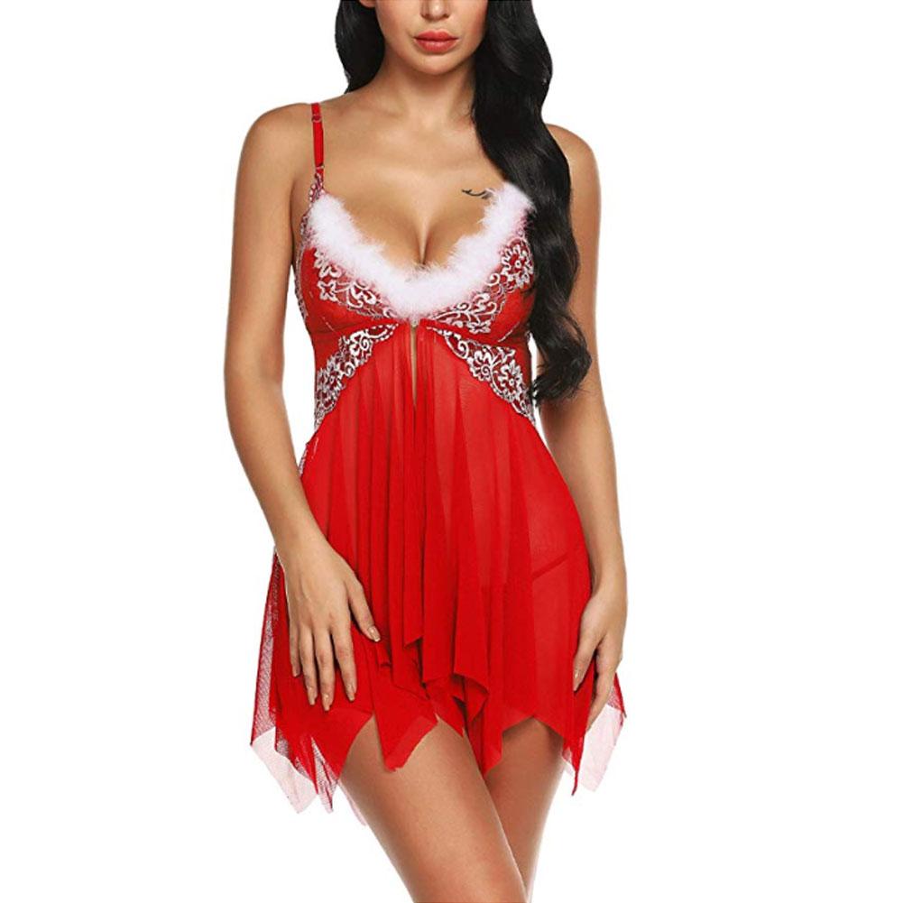 Рождественское нижнее белье, женское сексуальное нижнее белье, красное платье Babydoll, одежда для сна, костюм, Новинка 23