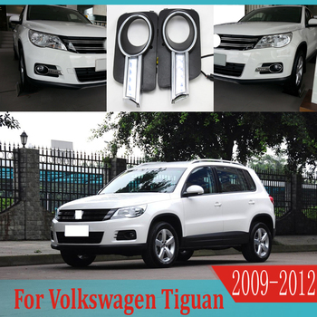 2pcs For Volkswagen Tiguan 2009-2012 6000K White Light LED Daytime Driving Running Light DRL Car Fog Lamp