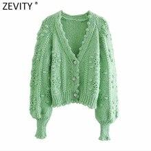 Zevity – Cardigan en tricot à manches longues et col en V pour femme, haut en tissu Chic avec boutons, mode 2021, S689