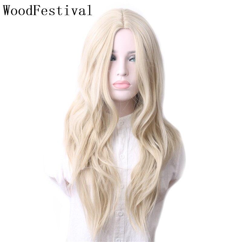 Woodfestival perucas femininas peruca de cabelo sintético resistente ao calor cosplay ondulado longo loira verde roxo cinza azul marrom rosa vermelho colorido