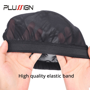 Image 4 - Plussign Stretchable Spandex Black Mesh Dome Style Wig Cap Wholesale 12 Pcs/Lot Snood Weaving Caps Hair Net For Wigs Making