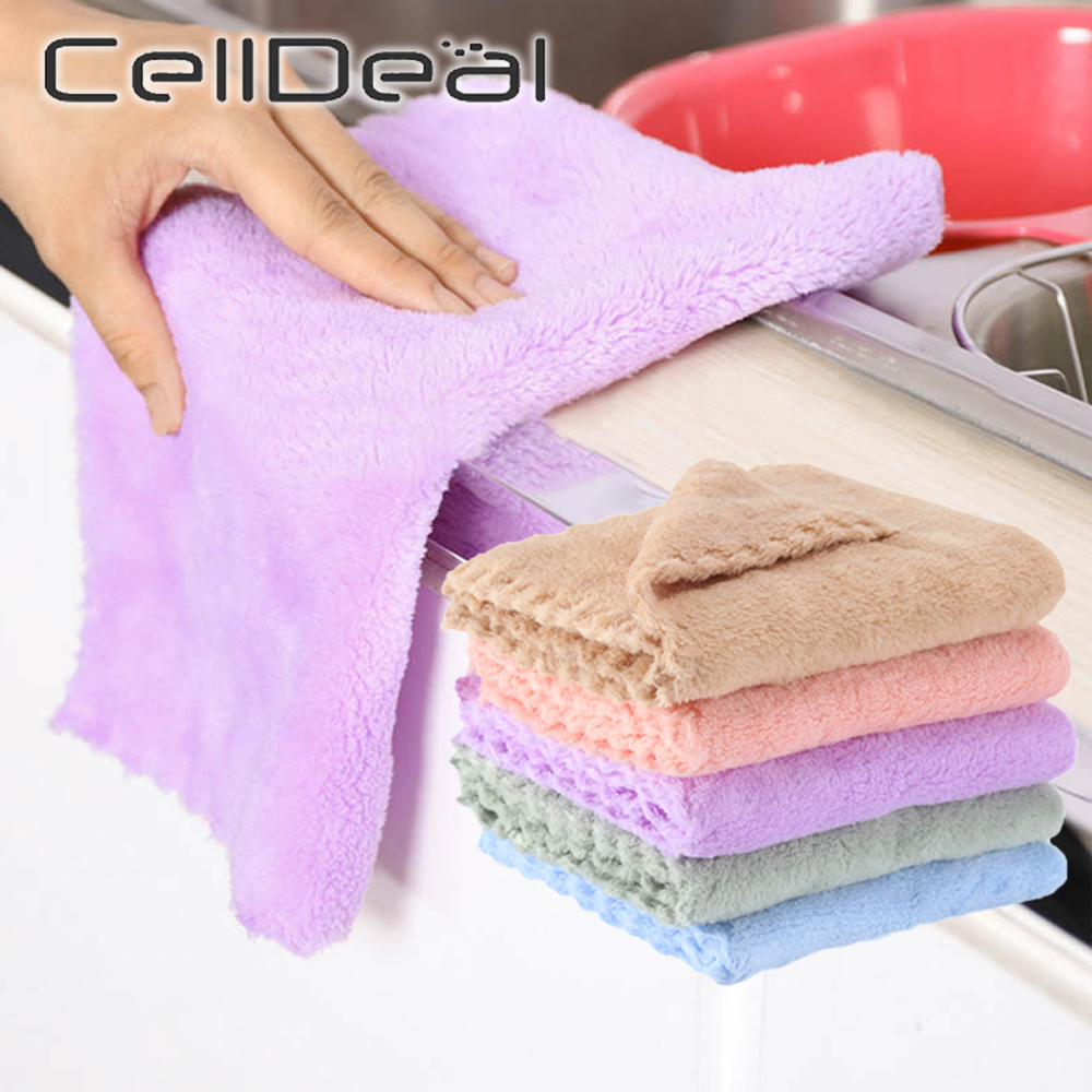 Thicker Kitchen Cleaning Rag Absorbent Scouring Pad Rag Home Microfiber Towels Tableware Non stick Oil Cleaning Wiping Towel