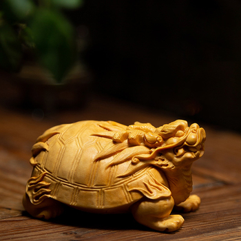 Lucky Animal Dragon tortoise Wood Statue Wing tortoise Animal Statue Home Wall Decors Boxwood Carving Car Decorations