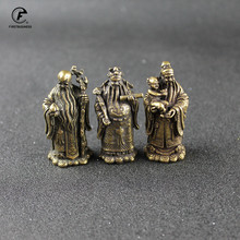 Antique Bronze Taoism Three Gods of Blessing Wealth Longevity Statue Pure Copper Buddha Figurines Ornaments Feng