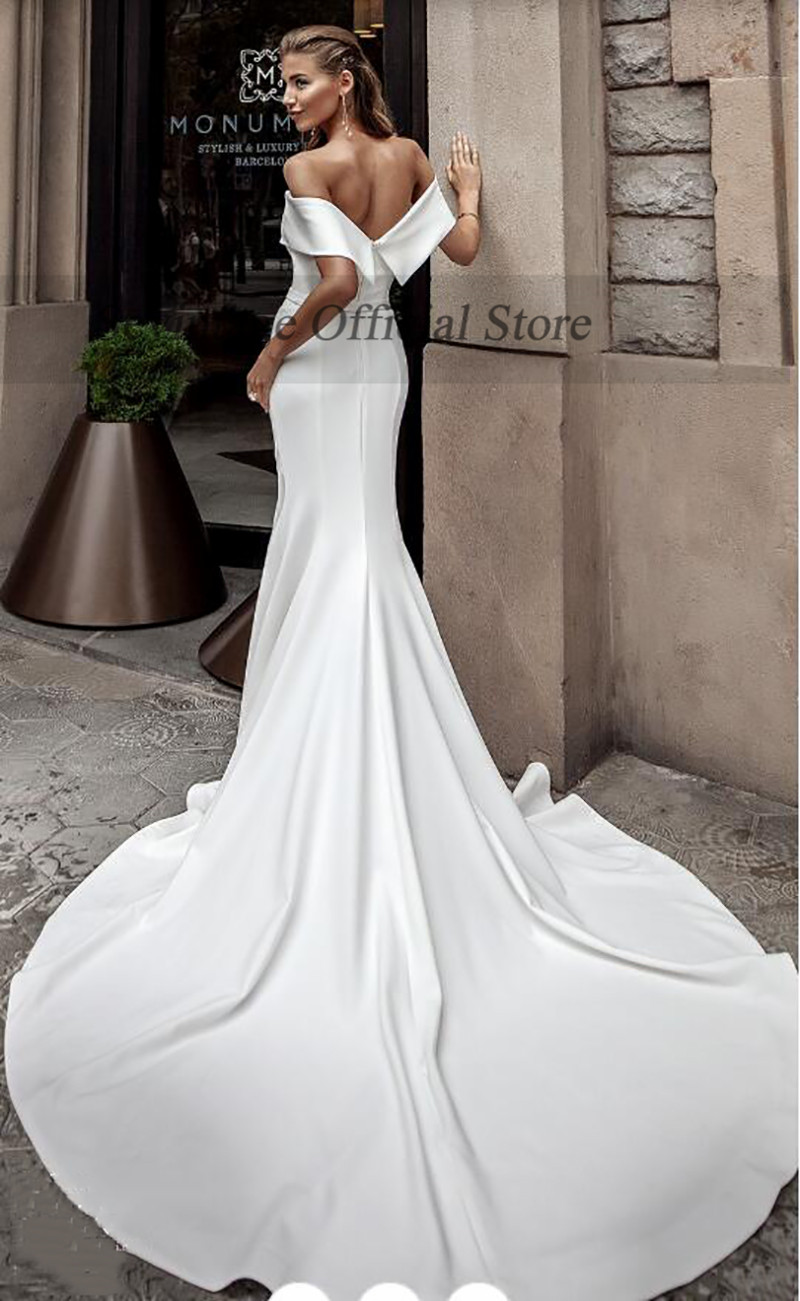 Sevintage Simple Mermaid Satin Wedding Dresses Boho High Slit Off Shoulder Wedding Gowns Long Train Bridal Dress Princess 2021