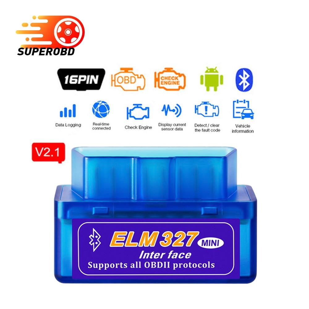 Super Mini ELM327 V2.1 Bluetooth V2.1 OBD2 Car Diagnostic Tool ELM 327 V2.1 Code Reader For Android/Symbian For OBDII Protocols