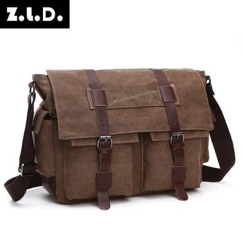 Canvas Men Oblique Satchel Computer Single Shoulder Bag More Pocket Schoolbag Postman Bag