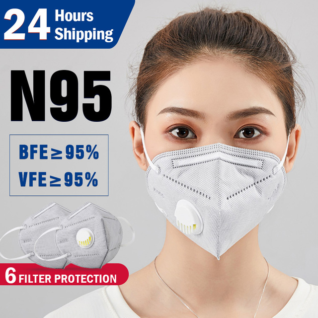 N95 N99 Reusable Masks Valved Face Mask 6 Layers Filter Bacterial Flu Protection Face Mask Mouth Cover Pm2.5 Anti-Dust Masks 2