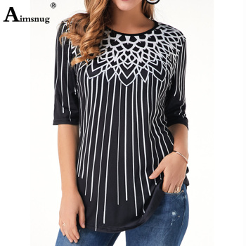 New Elegant Summer Fashion Elasticity Female Casual Loose Ladies print Top Half Sleeve T-Shirt