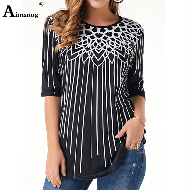 New Elegant Summer Fashion Elasticity Female Casual Loose Ladies print Top Half Sleeve T-Shirt