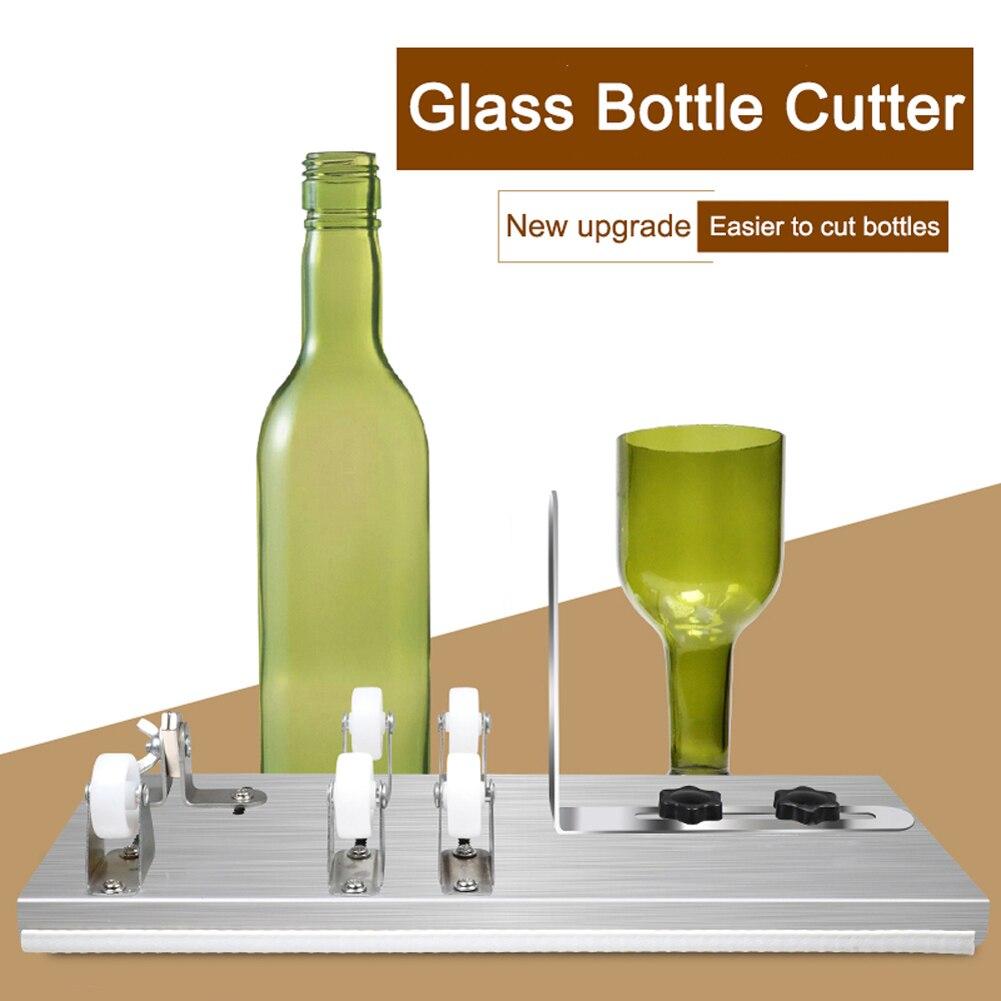 Cortadora de botellas de vidrio para cortar cerveza de vino, whisky, Alcohol, champán con guantes de fijación de anillo de goma