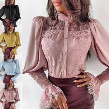 цена на Women Lace Patchwork Long Sleeve Button Down Shirt Sexy OL Solid Color Floral Loose Lapel Blouse Tee Tops