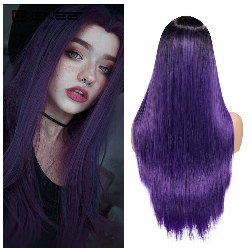 Wignee Long Straight Hair Middle Part Synthetic Wig For Women Ombre Purple Natural Hair Glueless Daily/Cosplay Female  Hair Wigs
