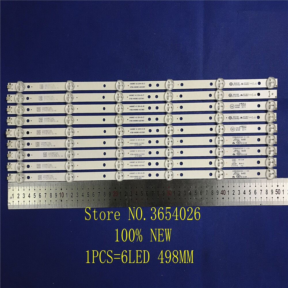 100%new 9pcs/set LED Strip For Phili S 49inch TV 49PUF6050/T3 Backlight K490WD7 A1 4708-K490WD-A2213K01