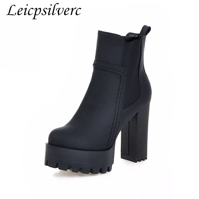 Winter New Waterproof Platform Zipper Martin Boots Comfortable Short Boots Round Head Rough With Naked Boots Big Size 34-48
