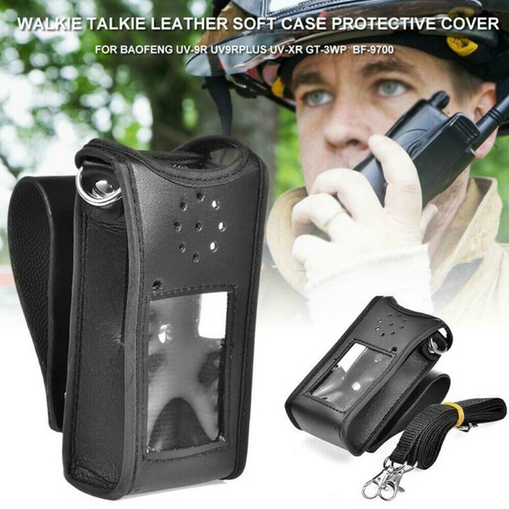 Professional Durable PU Leather Pouch Buckle Protective Cover Outdoor Sheath Waist Walkie Talkie Accessories For BF-UV9RPLUS