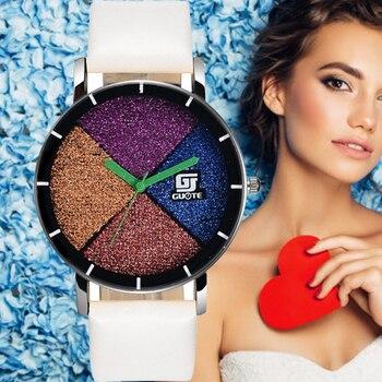 GUOTE lujoso de las mujeres de la marca de Relojes de Cuero analógico de cuarzo Reloj de señoras de moda de deporte Casual relojes de nueva llegada Reloj de Mujer