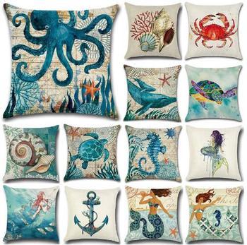 Funda de cojín de concha de sirena marina de ZENGIA funda de cojín de temática náutica Azul Mediterráneo Decoracion Marinera para decoración del hogar
