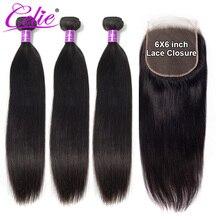 סלי שיער 6x6 סגירת חבילות ברזילאי שיער טבעי Weave חבילות עם סגירה ישר שיער טבעי 3 חבילות עם סגירה