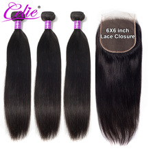 Celie Hair 6x6 Closure And Bundles Brazilian Human Hair Weave Bundles With Closure Straight Human Hair 3 Bundles With Closure