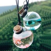 Botella de Perfume para coche, frasco vacío para colgar para aceites esenciales, adorno colgante de Perfume con ambientador de aire floral, estilismo para coche, 1 ud.