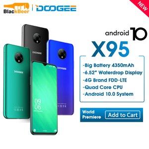 DOOGEE X95, 6,52 дюймовый мобильный телефон, Quad Android 10, 4G LTE, 2 Гб ОЗУ 16 Гб ПЗУ, смартфон MTK6737, 4350 мАч, сотовый телефон с тройной камерой