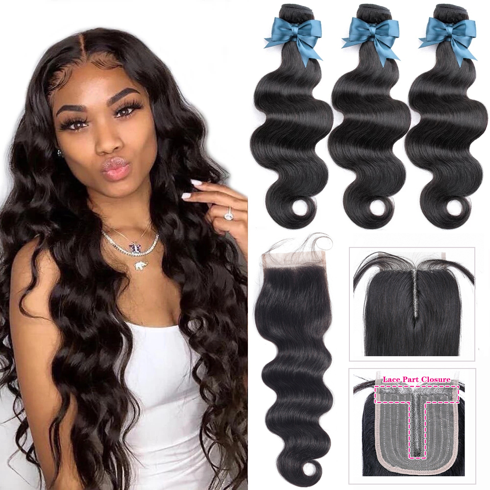 Transparent Body Wave Bundles With Closure Hair Weave Bundles With Closure 4x4 HD Transparent Lace Closure with Hair Extensions