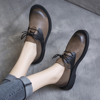 Women Leather Flats Casual Black Shoes Brand Spring Lace Up Flats For Women Handmade Genuine Leather Soft Low Heels Shoes 2020