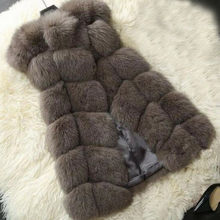 Faux Pelzmantel Herbst Winter Frauen 2019 Mode Lässig Warme Dünne Ärmel Faux Fuchs Pelz Weste Winter Frauen casaco feminino(China)