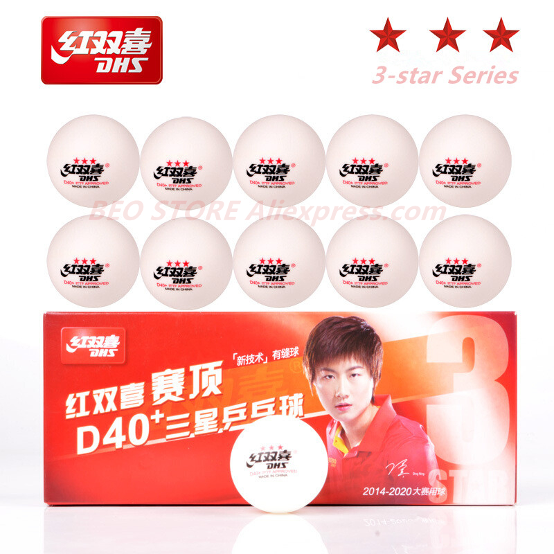 DHS 3-star D40+ Table Tennis Balls 3 Star New Material Seamed ABS Plastic Ping Pong Ball Poly