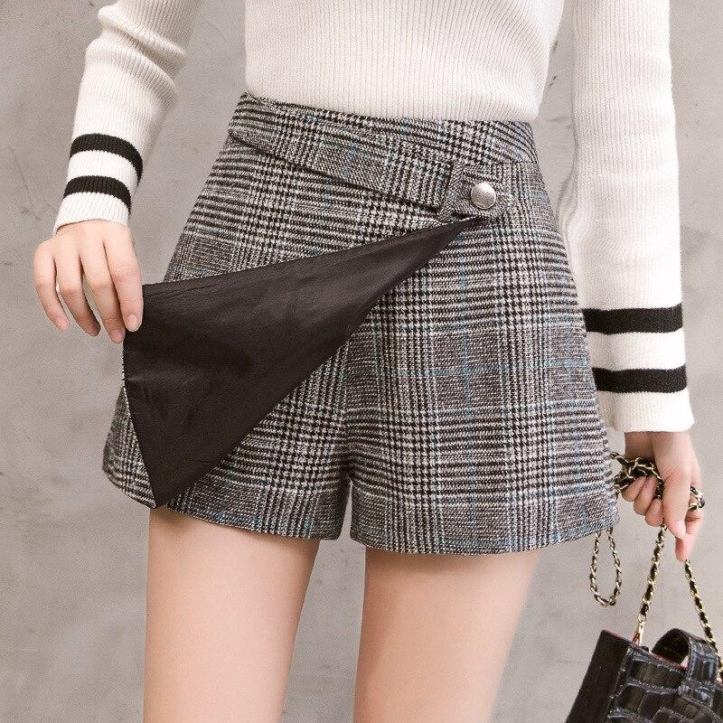 Women Casual A Line Pacthwork Office Mini Skirts Shorts Autumn Winter Woolen Plaid Shorts  Femme High Waisted Shorts