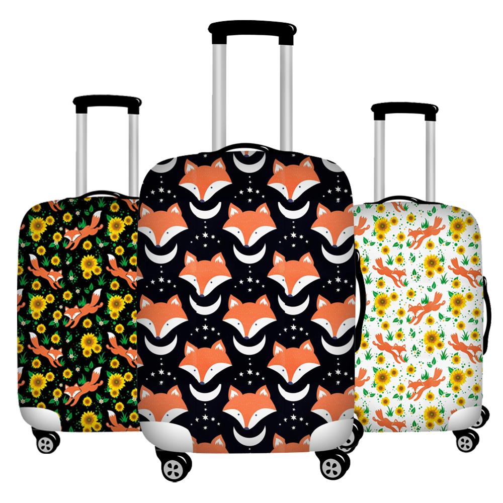 Foldable Floral Fox Print Luggage Protective Dust Cover Waterproof 18-32inch Suitcase Cover To Luggage Set Stretchable