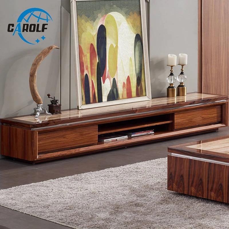 meuble tv moderne en bois et marbre pour salon nouvel arrivage