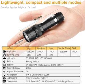 Image 2 - DF10 Scuba Diving Light 18650 LED Flashlight Compact 1080lm LH351D 1080lm LED Lamp Underwater Searchlight Torch