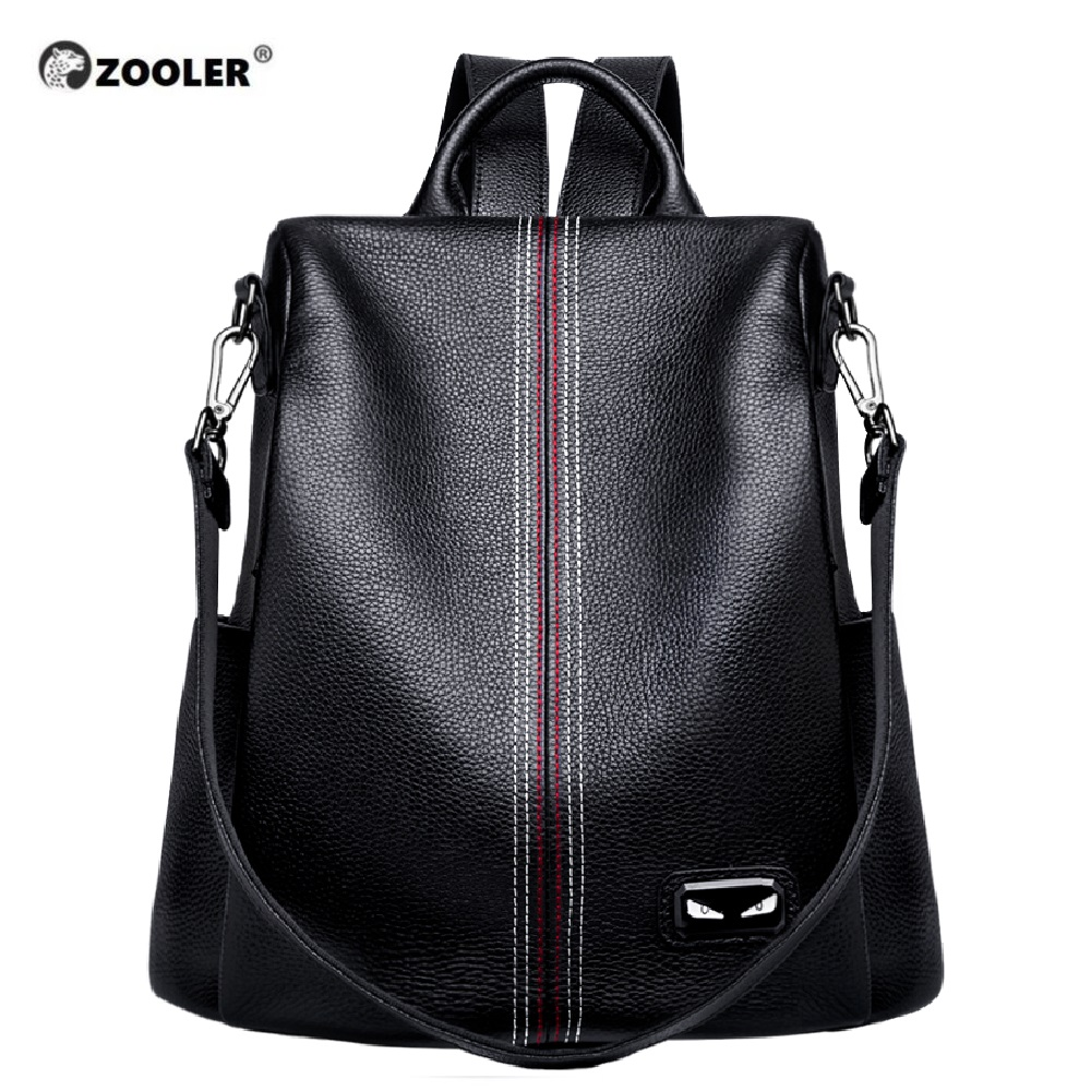 ZOOLER Brand 2019 New Genuine Leather Bag Women COW Leather Backpack Elegant Soft School Bag Travel Tote Bags Black Bolsas#YC203